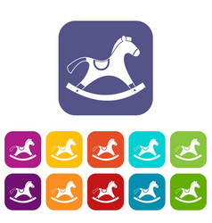 Rocking horse icons set flat vector