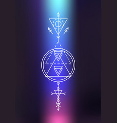 Sacred geometry sign photo overlay vector