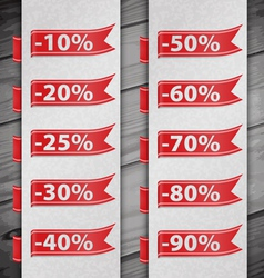 Set of percent discount digits vector image