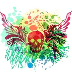 Skull with floral wings vector image