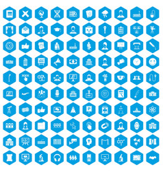 100 conference icons set blue vector image