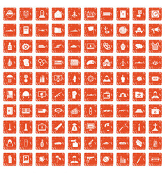 100 war icons set grunge orange vector