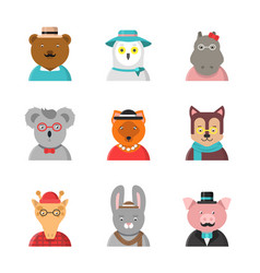 animal avatars cute hipster animals fox bear dog vector image