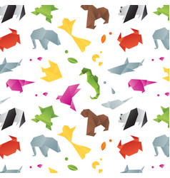 Animals origami pattern color vector