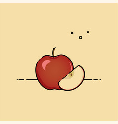 apple with slice in the side vector image
