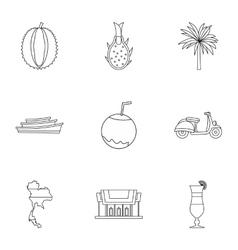 Attractions of thailand icons set outline style vector