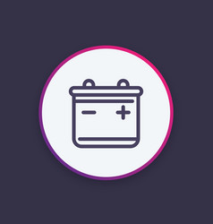 battery icon in linear style vector image
