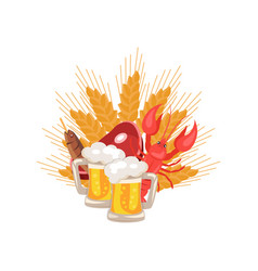 beer and snacks at octoberfest vector image