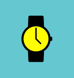 black watch icon with yellow display on blue vector image