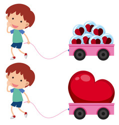Boy with pink wagons with heart shapes vector