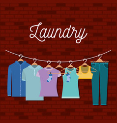 Brick wall background of clothes in hangers vector