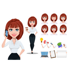Businesswoman cartoon character creation set vector