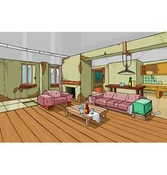 Cartoon old shabapartment interior vector