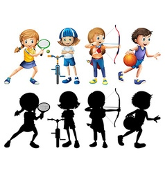 Children doing different sports set with vector image
