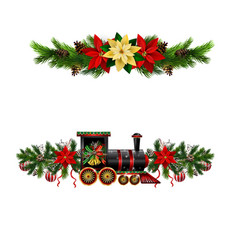 christmas decorations with fir tree and vector image