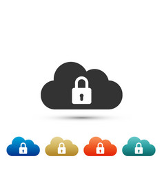 cloud computing lock icon on white background vector image