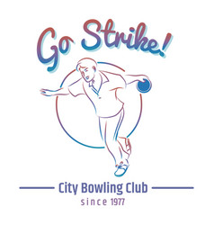 Colorful bowling club emblem vector