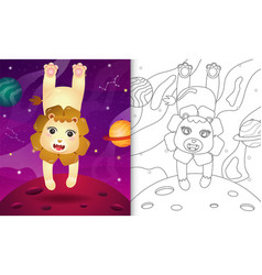 Coloring book for kids with a cute lion vector