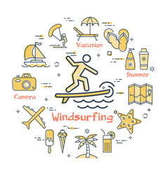 concept of summer time with windsurfing vector image