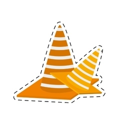 Construction cone with stripes cut line vector
