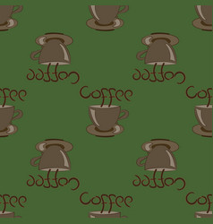 Cup of coffee on green vector