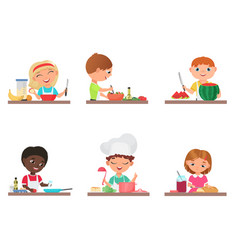 cute cartoon kids preparing food on the kitchen vector image