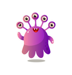 cute purple monster with five eyes and small smile vector image