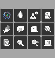 data analysis icon set on black background vector image