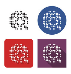dotted icon global search in four variants vector image