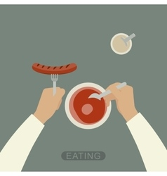 Eating background vector image