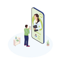 ehealth smartphone app isometric male patient vector image