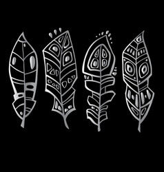 ethnic feathers set hand drawn vector image