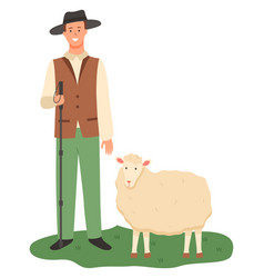 Farmer with sheep on pasture farming male working vector