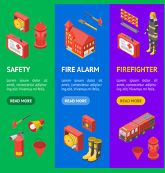 firefighter man and equipment banner vecrtical set vector image