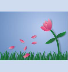 Flower petals flying paper art style vector