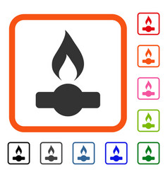 gas flame framed icon vector image