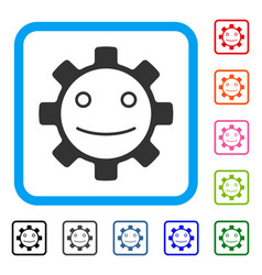Gear smile smiley framed icon vector