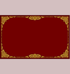 gold photo frame with thai style border vector image