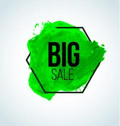 green watercolor sale label vector image