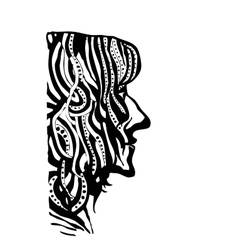 hand draw womans face profile in style zentangl vector image