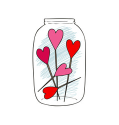 Hand drawn of a mason jar with vector