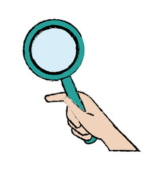 hand holding magnifier handle search vector image