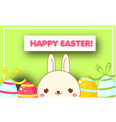 happy easter banner template cute easter bunny vector image