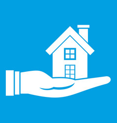 House in hand icon white vector