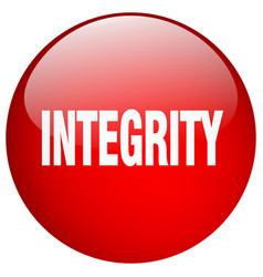 Integrity red round gel isolated push button vector