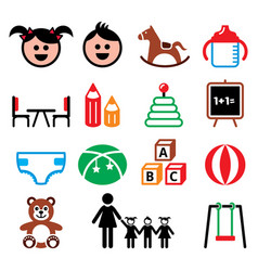 kindergarten nursery preschool children color ic vector image