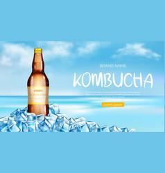 kombucha bottle mockup ad banner fresh tea drink vector image