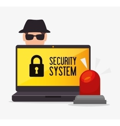 Laptop alert security system hacker vector