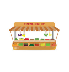 Local farm market fruit shop with fresh fruit in vector