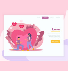 Love couple flat landing page composition vector